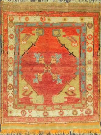 Antique Turkish Oushak Sampler Rug