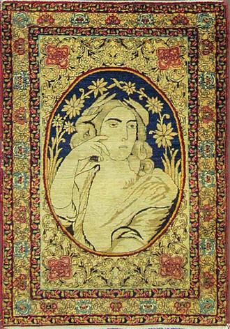 Antique Pictorial Kermanshah Rug