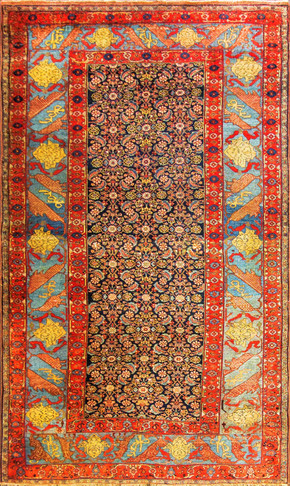Fascinating Antique Halwai Bijar Carpet