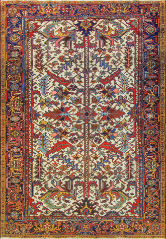 Attractive Ivory Persian Tree of Life Heriz Carpet