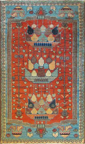 Antique Persian Bakhtiari Rug, Very Unusual