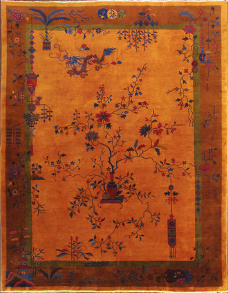 Antique Art Deco Dragon Carpet, Gold Color