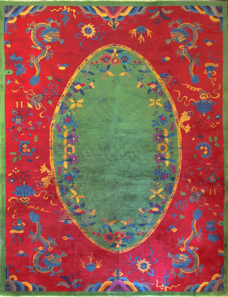 Antique Dragon Art Deco Chinese Carpet, Early 20th Century