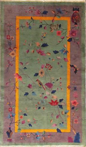 Antique Art Deco Carpet, Lonely Bird