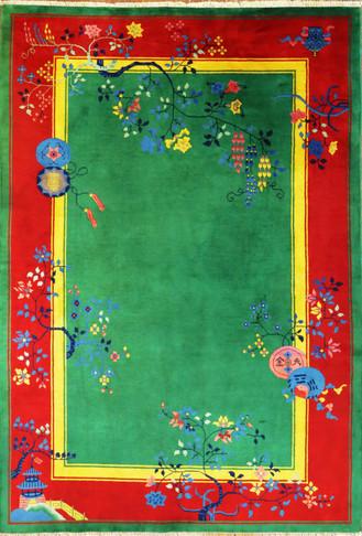 Antique Art Deco Carpet, Happy Season