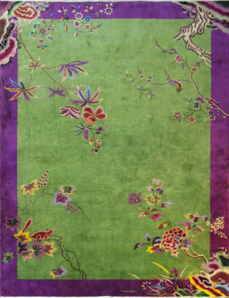 Antique Art Deco Chinese Carpet, Land Before Time