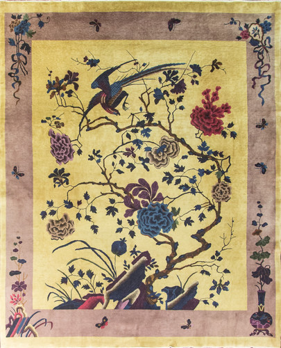 Golden Chinese Art Deco Rug, Full View